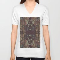 bohemian V-neck T-shirts featuring Bohemian Square by Jane Lacey Smith