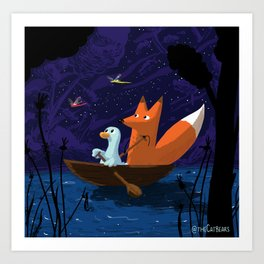 Fox & Duck Looking For Dragonflies Art Print