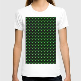 Polka dots Green dots over black T-shirt