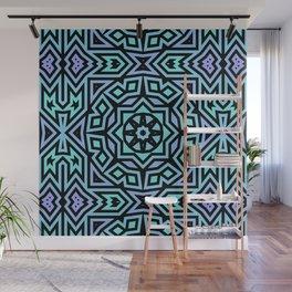 Aqua/Lilac/Black Tribal Pattern Wall Mural
