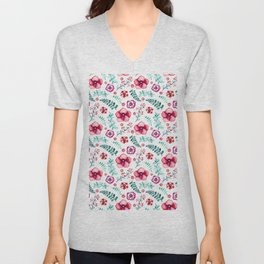 Fuchsia pink green watercolor hand painted floral Unisex V-Neck