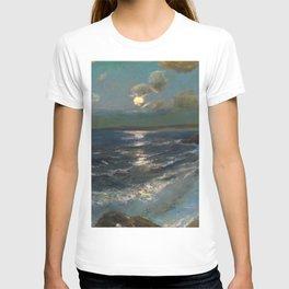 Twilight Moon coastal nautical landscape painting by Julius Olsson T-shirt