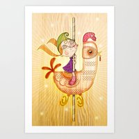 carousel Art Prints featuring Carousel by José Luis Guerrero