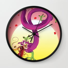 Far East Dragon print Wall Clock