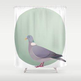 Wood Pigeon Graphic Bird Shower Curtain