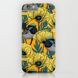 Fairy wren and poppies in yellow iPhone Case