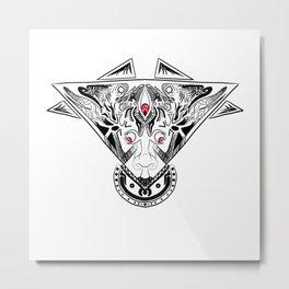 Red Eyed Zen-Doodle Face Metal Print