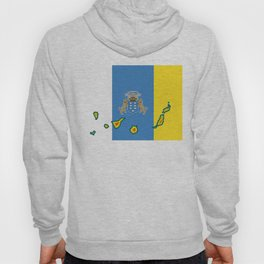 Canary Islands Flag with Map of the Canary Islands Islas Canarias Hoody