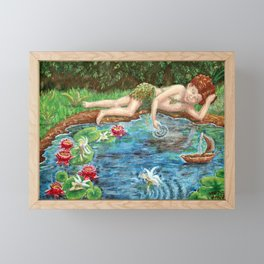 Midsummer Daydream painting, woodsprite and fairies at the lily pond Framed Mini Art Print