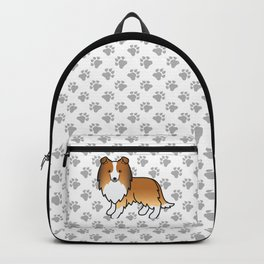 Sable Shetland Sheepdog Dog Cartoon Illustration Backpack