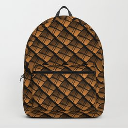Interweaving square tile made of gold rhombuses with dark gaps. Backpack