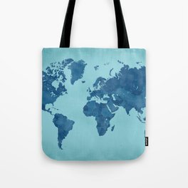 Vintage and distressed teal world map Tote Bag