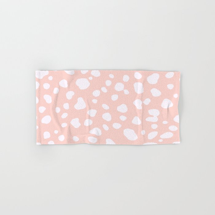 Pink Coral Spotty Dots Hand & Bath Towel