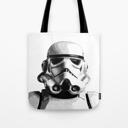 Stormtrooper Hand Drawn Dotwork - StarWars Pointillism Artwork Tote Bag