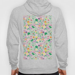 Flowers and Ferns Colorful Illustrated Print Hoody
