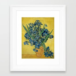 Still Life: Vase with Irises Against a Yellow Background Framed Art Print