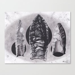 Realism Charcoal Drawing of Arrow Heads Canvas Print
