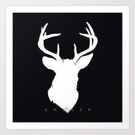 White Deer Silhouette on Black Art Print