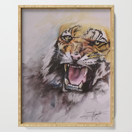 Fierce Tiger Watercolor Serving Tray