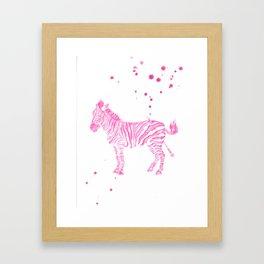 Zebra in pink Framed Art Print