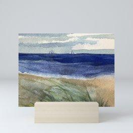 Sailboats and Sea Grass Watercolor Mini Art Print
