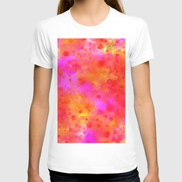 Watercolor Painting Bright Red & Summer Pink Abstract Paint Splashes T-shirt