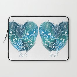 White Inked Floral Heart - Blues Laptop Sleeve