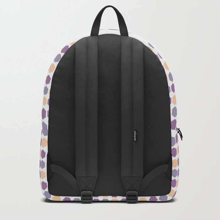 Flower and purple hexagons Backpack