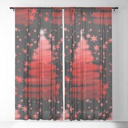 Red XMas Tree Sheer Curtain