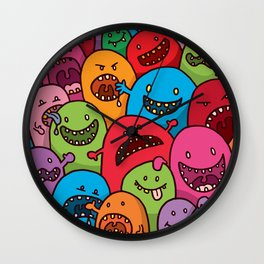 Illustrated Monsters Print Wall Clock