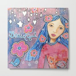 Flower Child Mixed Media Metal Print
