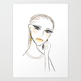 A girl with the foil earrings #2 Art Print