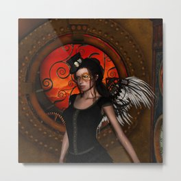 Wonderful steampunk lady with wings and hat Metal Print