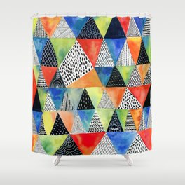 Doodled Geometry Shower Curtain