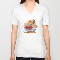 tintin V-neck T-shirts featuring Tintin and Snowy! by Ana Xoch Guillén