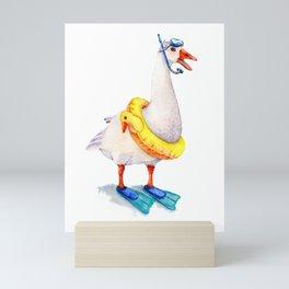 Snorkeling Goose Mini Art Print