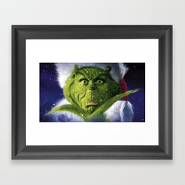 Geometric Grinch Framed Art Print