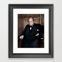 Winston Churchill in colour Framed Art Print