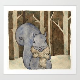 squirrel in the woods Art Print