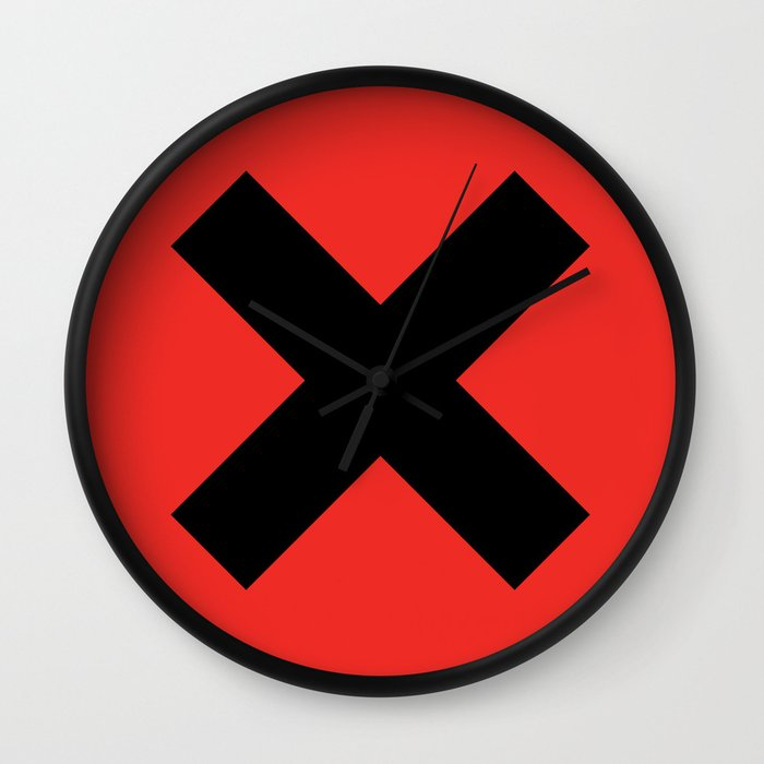 X - Simple on Red Wall Clock