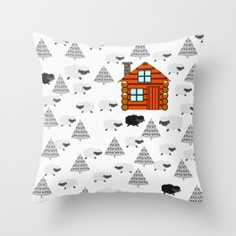 Winter cabin with sheep Throw Pillow