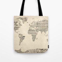 Old Sheet Music World Map Tote Bag