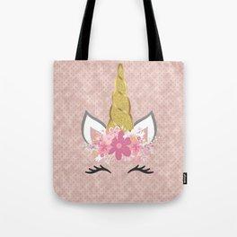 Blush Pink and Faux Gold Unicorn Glitter Tote Bag