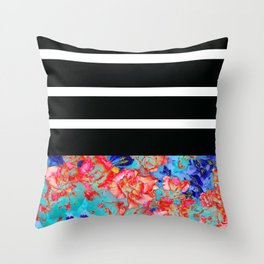 Floral Stripe II Throw Pillow