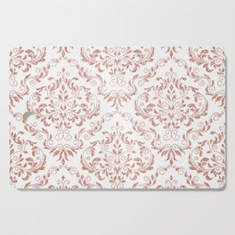 Rose Gold Glitter and White Damask Cutting Board