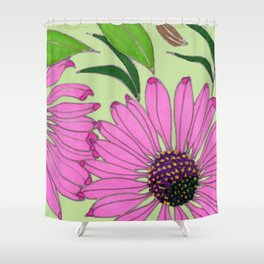 Echinacea on Pistachio Shower Curtain