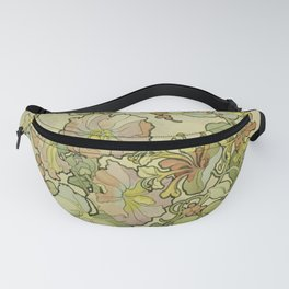 """Alphonse Mucha """"Printed textile design with hollyhocks in foreground"""" Fanny Pack"""