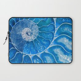Blue colored Ammonite fossil Laptop Sleeve
