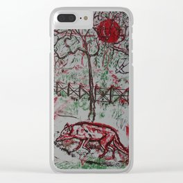Fox and the Red Sun Clear iPhone Case