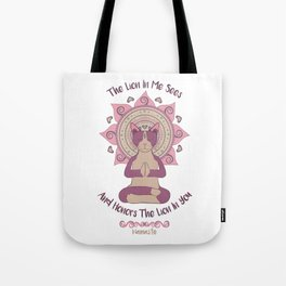 Namaste Kitty Tote Bag